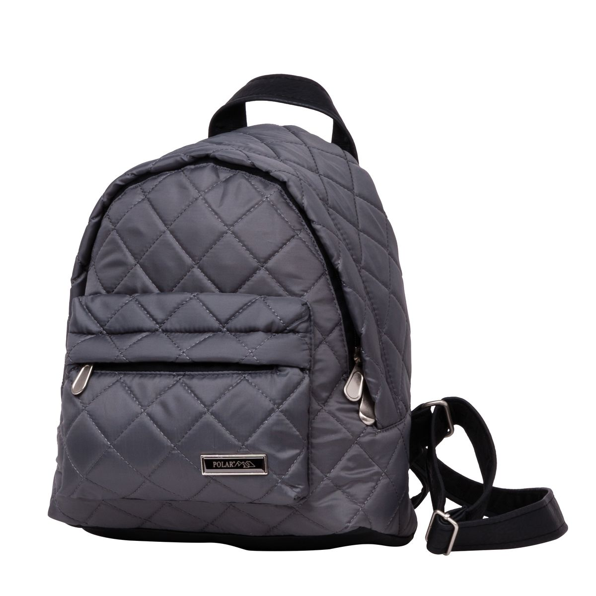 Рюкзак городской женский Polar, цвет: темно-серый, 9 л. п7075-06RU-704-1/3Рюкзак Polar выполнен из высококачественного полиэстера, который не пропускает воду. Рюкзак оформлен декоративной прострочкой и фирменной металлической пластинкой.На лицевой стороне расположен объемный накладной карман на молнии для мелочей. Рюкзак имеет петлю для подвешивания и две удобные лямки, длина которых регулируется с помощью пряжек. Изделие застегивается на застежку-молнию. Внутри расположено главное отделение, которое содержит вшитый карман на молнии и два открытых накладных кармана для телефона и мелочей.