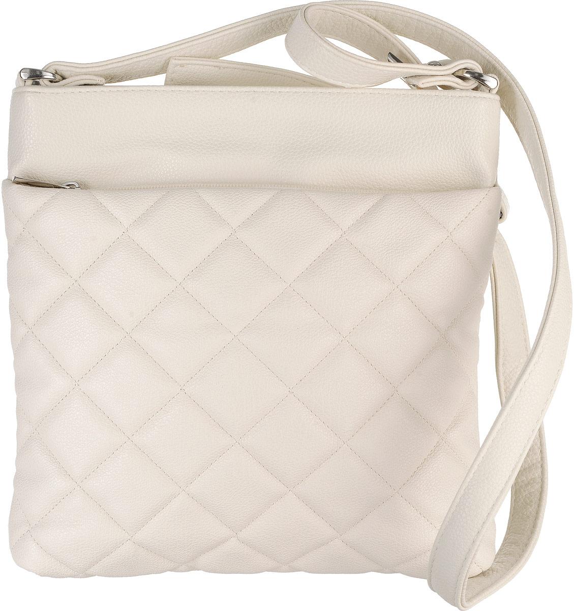 Сумка женская Аntan, цвет: светло-бежевый. 902A-B86-05-CСтильная женская сумка Аntan выполнена из искусственной кожи. Изделие имеет одно отделение, которое застегивается на застежку-молнию. Внутри сумки находятся два накладных открытых кармана и прорезной карман на застежке-молнии. Снаружи, на передней стенке расположен накладной карман на застежке-молнии, на задней стенке - прорезной карман на застежке-молнии. Сумка оснащена регулируемым наплечным ремнем.