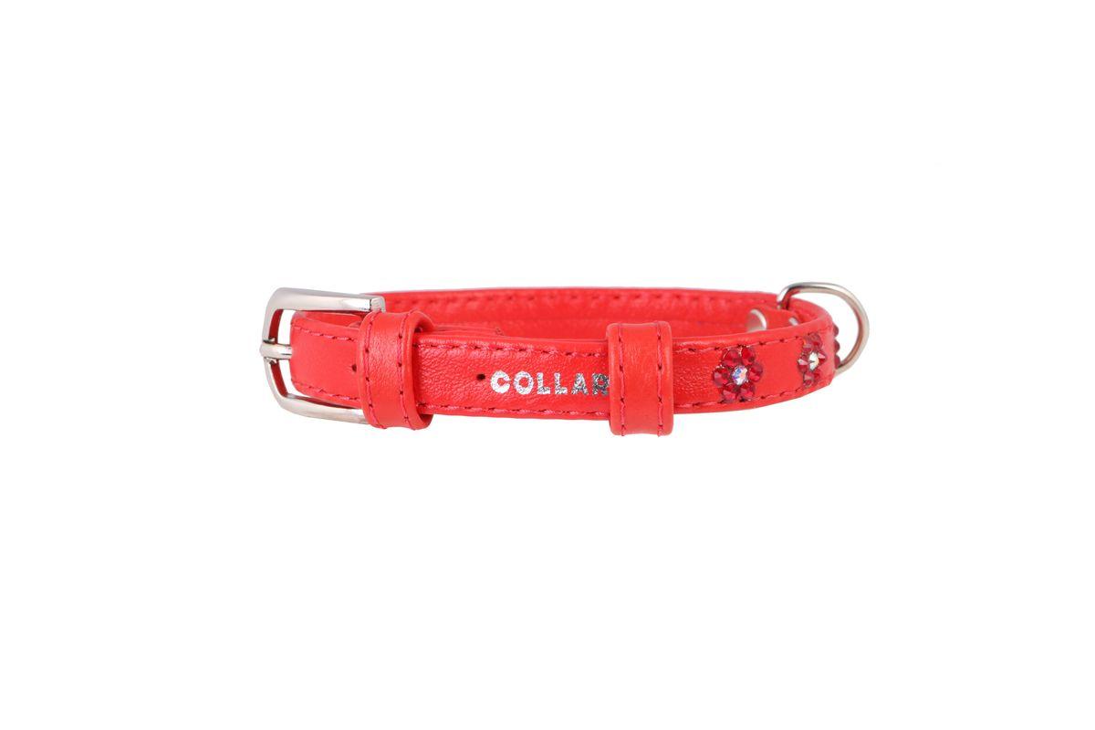 Ошейник CoLLaR Glamour Цветочек, цвет: красный, ширина 12 мм, длина 21-29 см0120710Ошейник CoLLaR GLAMOUR с клей.стразами Цветочек (ширина 12мм, длина 21-29см) красный