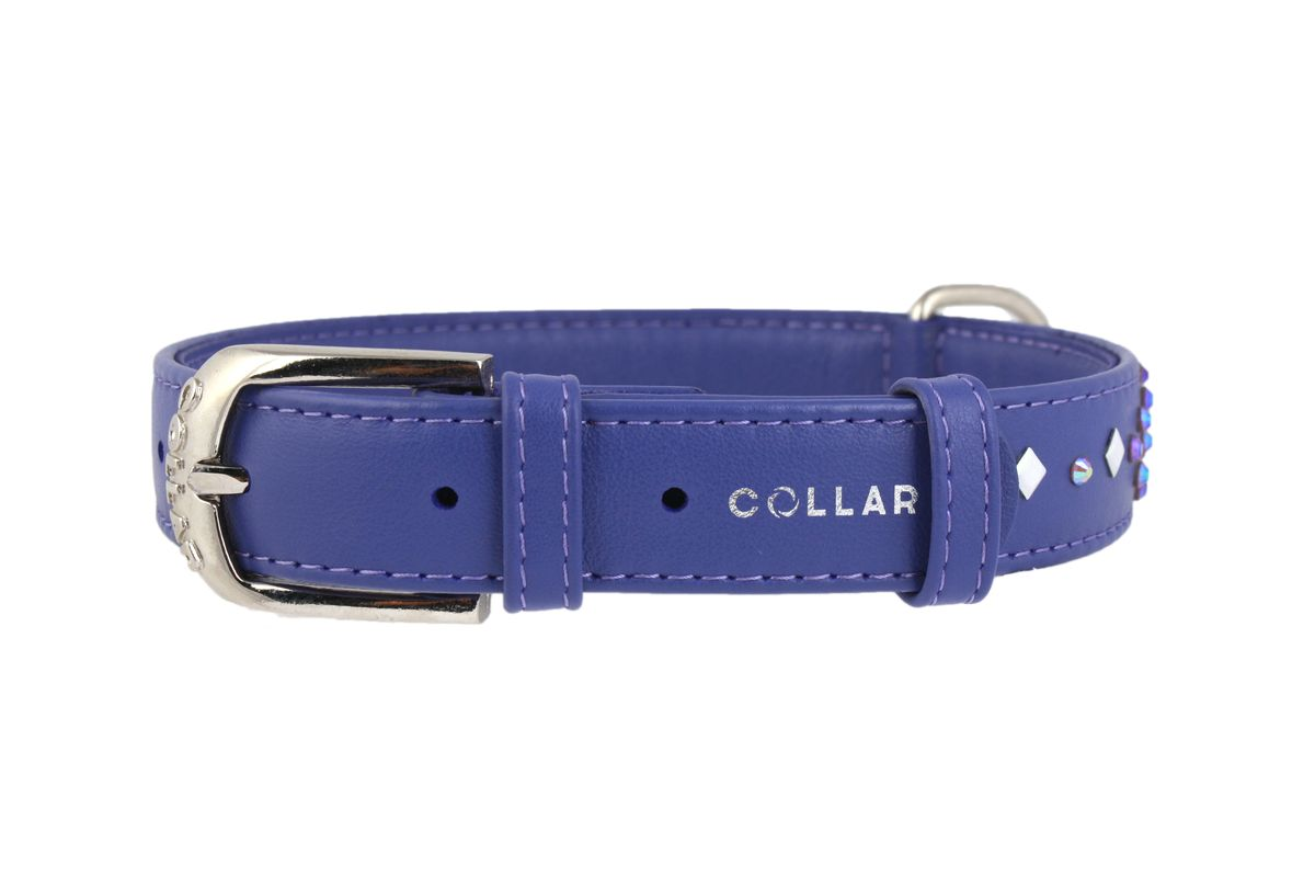 Ошейник CoLLaR Glamour Ромб, цвет: фиолетовый, ширина 25 мм, длина 38-49 см0120710Ошейник CoLLaR GLAMOUR с клей.стразами Ромб (ширина 25мм, длина 38-49см) фиолетовый
