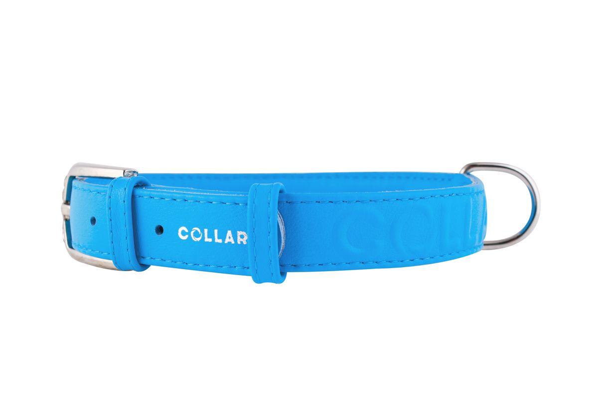 Ошейник CoLLaR Glamour, цвет: синий, ширина 25 мм, длина 38-49 см. 345720120710Ошейник CoLLaR GLAMOUR с объемной надписью (ширина 25мм, длина 38-49см)синий