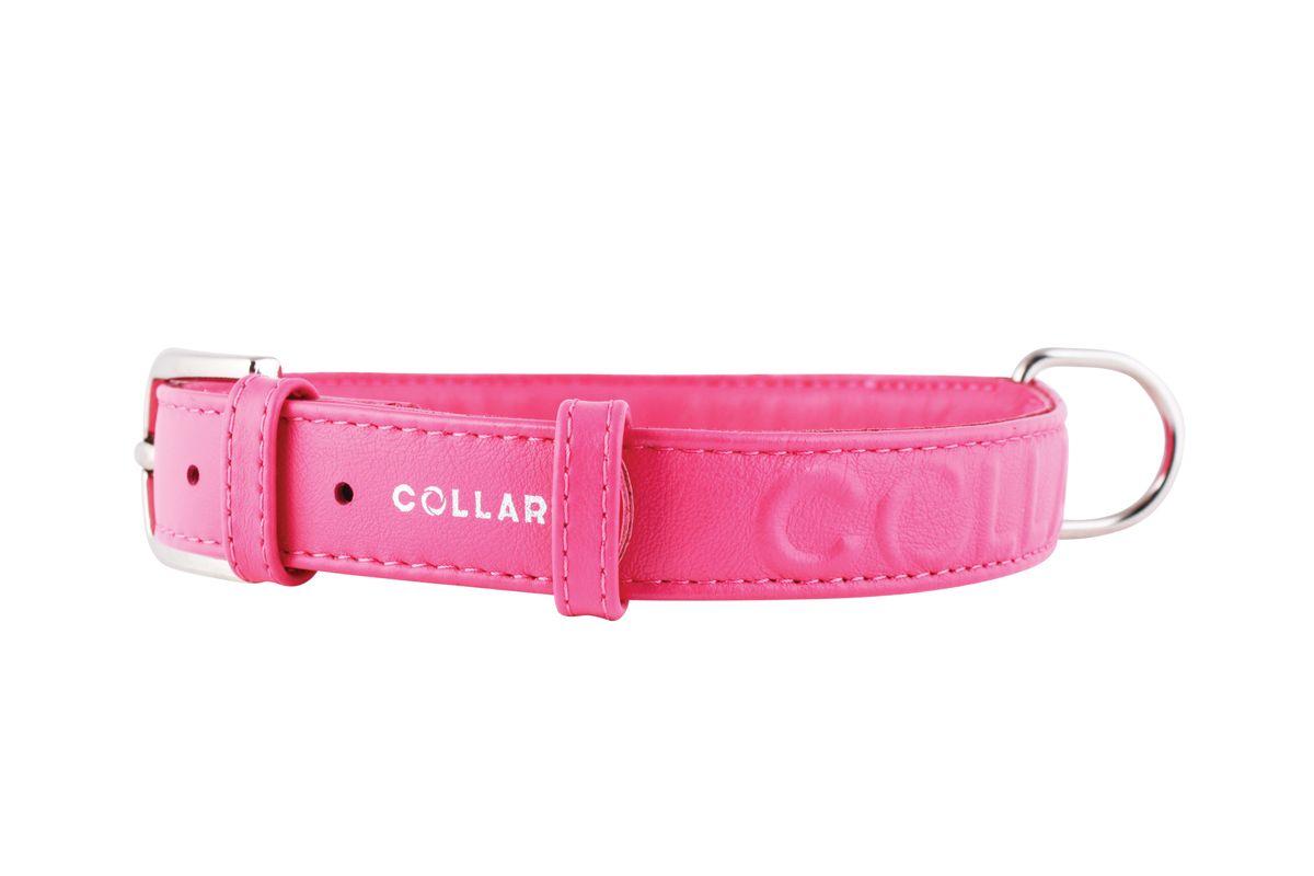 Ошейник CoLLaR Glamour, цвет: розовый, ширина 25 мм, длина 38-49 см. 34577ZM4002_синийОшейник CoLLaR GLAMOUR с объемной надписью (ширина 25мм, длина 38-49см)розовый