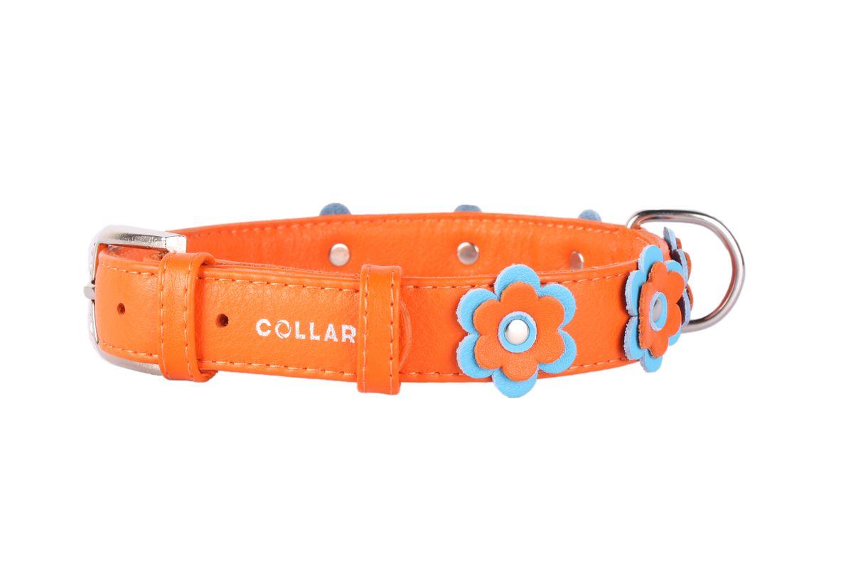 Ошейник CoLLaR Glamour Аппликация, цвет: оранжевый, ширина 25 мм, длина 38-49 см0120710Ошейник CoLLaR GLAMOUR с украшением аппликация (ширина 25мм, длина 38-49см) оранжевый