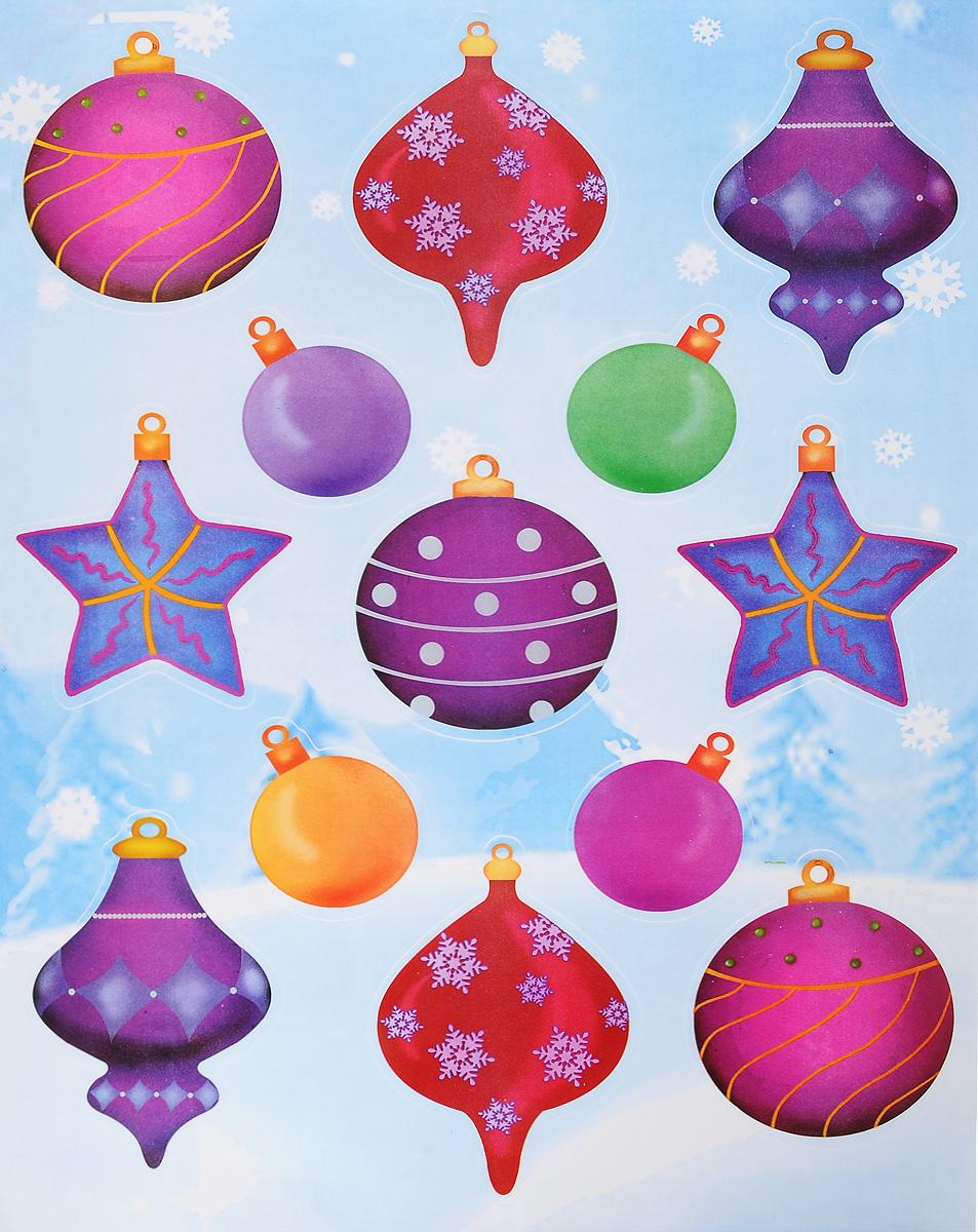 Украшение новогоднее оконное Winter Wings Елочные украшения, 13 шт19201Новогоднее оконное украшение Winter Wings Елочные украшения поможет украсить дом к предстоящим праздникам. Наклейки изготовлены из ПВХ и выполнены в виде елочных игрушек.С помощью этих украшений вы сможете оживить интерьер по своему вкусу, наклеить их на окно, на зеркало или на дверь.Новогодние украшения всегда несут в себе волшебство и красоту праздника. Создайте в своем доме атмосферу тепла, веселья и радости, украшая его всей семьей.Размер листа: 40 х 29 см. Средний размер наклейки: 8,5 х 9,5 см.