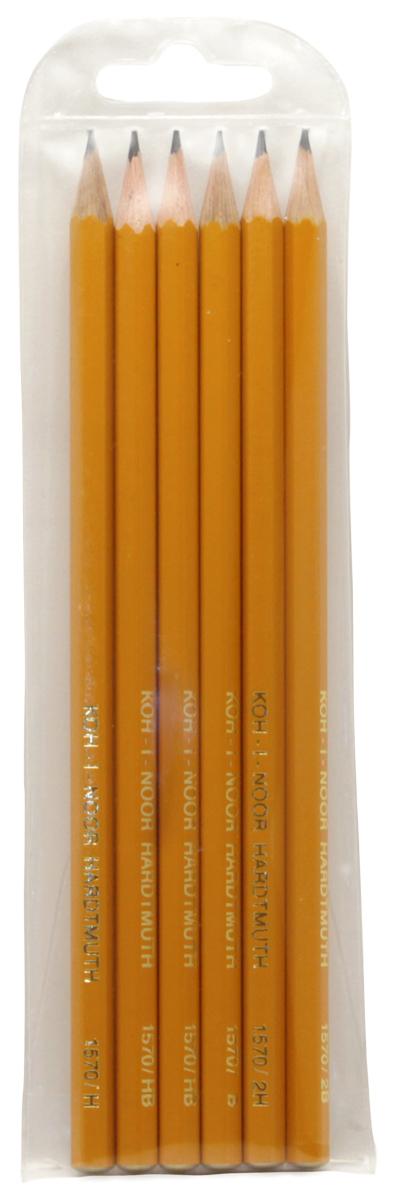 Набор чернографитовых карандашей Koh-i-Noor, 2Н, Н, НВ, В, 2В, 6 шт. 126738C13S041944Набор карандашей графитных, для черчения и художественных работ, древесина - кедр, корпус желтого цвета, тиснение золотом, различной твердости. Карандаши без ластика, заточенные. Количество: 6 шт. Предназначен для рисования на бумаге. Корпус деревянный, желтый. Твердость: НВ, HB, B, H, 2H, 2B. Упаковка: блистер. Производство: Чехия.