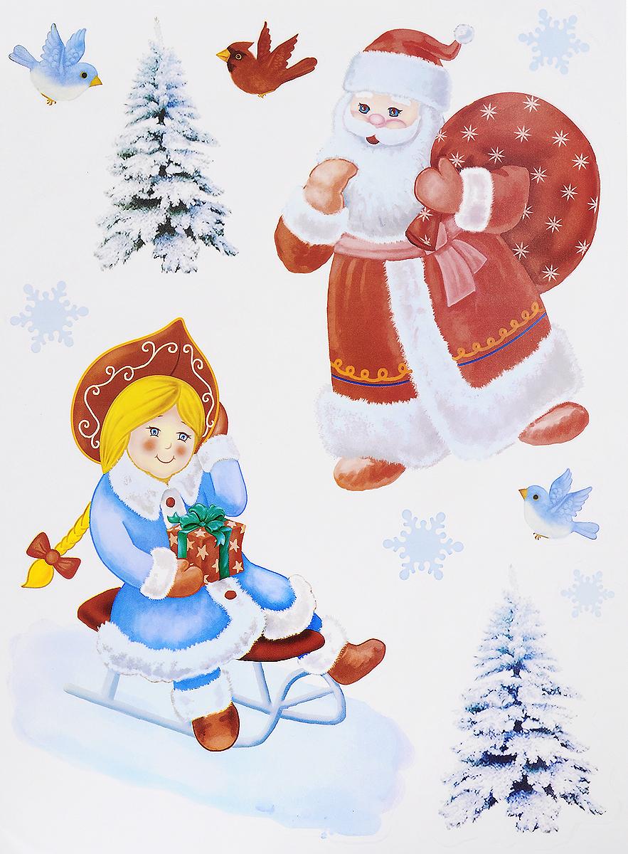 Украшение новогоднее оконное Winter Wings Дед Мороз и Снегурочка, 11 штRSP-202SНовогоднее оконное украшение Winter Wings Дед Мороз и Снегурочка поможет украсить дом к предстоящим праздникам. Наклейки изготовлены из ПВХ и выполнены в виде Деда Мороза и Снегурочки.С помощью этих украшений вы сможете оживить интерьер по своему вкусу, наклеить их на окно, на зеркало или на дверь.Новогодние украшения всегда несут в себе волшебство и красоту праздника. Создайте в своем доме атмосферу тепла, веселья и радости, украшая его всей семьей. Размер листа: 29,5 х 40 см. Количество наклеек на листе: 11 шт. Размер самой большой наклейки: 24 х 18,5 см. Размер самой маленькой наклейки: 3 х 3 см.