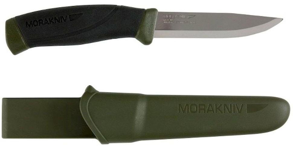 Нож туристический Morakniv Companion MG (S), цвет: хаки, черный, стальной, длина лезвия 10,3 см5041896Туристический нож Morakniv Companion MG (S) - это качественный и надежный походный аксессуар. Лезвие ножа изготовлено из высококачественной шведской нержавеющей стали, что позволило использовать данный нож во влажной среде. Эргономичная рукоятка позволит производить длительные и интенсивные работы с данным ножом. При этом вы не заработаете мозоли. Благодаря цветным вставкам в ручку, если он выпадет в траву, вы с легкостью его найдете. Тем самым уменьшится вероятность потери ножа. Нож оснащен превосходно выполненным чехлом (ножнами). Их вы сможете повесить на ремень благодаря специальному креплению. А фиксатор, который установлен в ножнах, не даст выпасть ножу, даже если вы будете носить его вертикально.Общая длина ножа: 21,8 см.