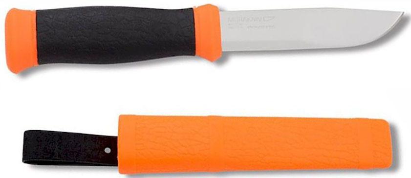 Нож туристический Morakniv 2000, цвет: оранжевый, черный, стальной, длина лезвия 10,9 см10629Нож туристический Morakniv 2000 станет отличным помощником на охоте или рыбалке. Это первоклассный многофункциональный нож с острым холоднокатанным лезвием из Sandvik.Morakniv 2000 - это прекрасный комплект, состоящий из ножа и ножен, стилизованный под охотничий или рыбацкий, что придает ему еще больше надежности. Клинок выполнен из высококачественной стали и подойдет для любых задач, а благодаря своей уникальной форме - очень удобен в использовании. Morakniv 2000 не заставит усомниться вас в его практичности, поскольку изготовлен в Швеции компанией, которая уже более 30 лет радует потребителей отменной работой. У данной модели рукоять выполнена из прорезиненного пластика, который не только препятствует скольжению в ладони, но и правильно распределяет нагрузку на лезвие. Ножны из прочного пластика с креплением помогут надежно закрепить Morakniv 2000 на поясе или другом приемлемом для вас месте.Общая длина ножа: 21,8 см.