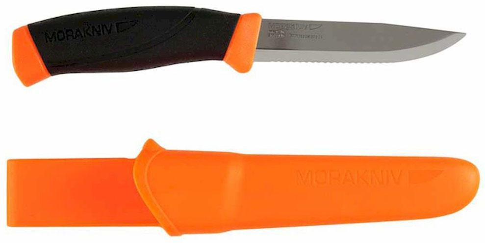 Нож туристический Morakniv Companion F, серрейтор, цвет: оранжевый, черный, стальной, длина лезвия 10,3 смG7452-BK-WSТуристический нож Morakniv Companion F - это качественный и надежный походный аксессуар. Лезвие ножа изготовлено из высококачественной шведской нержавеющей стали, что позволило использовать данный нож во влажной среде. А специальная заточка (ребристая) позволяет с легкостью резать трос, канат или веревку, это качество вам пригодится в походе, рыбалке, охоте. Эргономичная рукоятка позволит производить длительные и интенсивные работы с данным ножом. При этом вы не заработаете мозоли. Благодаря цветным вставкам в ручку, если он выпадет в траву, вы с легкостью его найдете. Тем самым уменьшится вероятность потери ножа. Нож оснащен превосходно выполненным чехлом (ножнами). Их вы сможете повесить на ремень благодаря специальному креплению. А фиксатор, который установлен в ножнах, не даст выпасть ножу, даже если вы будете носить его вертикально.Общая длина ножа: 21,8 см.