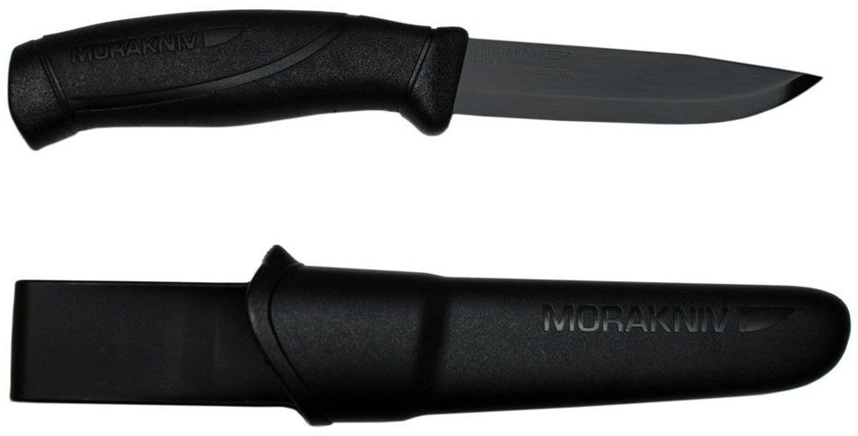 Нож туристический Morakniv Companion Black Blade, цвет: черный, длина лезвия 10,4 смG743-1-BKMorakniv Companion Black Blade - это многоцелевой нож скандинавского типа. Он вызывает неподдельную радость от качества изготовления и легкости работы таким доступным инструментом. В ноже есть все необходимое, что наиболее часто бывает нужно при простой работе: отличная геометрия и оптимальная длина лезвия, удобство рукояти и ножен, простота в уходе и неприхотливость.Morakniv Companion Black Blade с клинком из нержавеющей стали - наиболее оптимальный выбор среди разнообразия моделей, ведь такой клинок требует наименьшего внимания и совершенно неприхотлив. Рукоять ножа выполнена из резинопластика, она имеет очень хорошее сцепление с ладонью и избегает проскальзывания в руке. Ее легко удерживать благодаря удобной форме и плавным изгибам. Простые и надежные ножны обеспечивают хорошее удержание ножа. Благодаря поясной петле их можно носить на ремне.Общая длина ножа: 22,4 см.