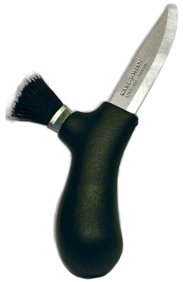 Нож туристический Morakniv Karl-Johan, для грибов, цвет: черный, стальной, длина лезвия 6,2 смG746-1-ORНож грибника Morakniv Karl-Johan разработан известным шведским дизайнером Карлом Йоханом (Karl Johan). Поставляется в удобном защелкивающемся и легко снимающемся пластиковом защитном чехле. Чехол имеет клипсу для надежного крепления ножа на поясе. Также грибной нож Morakniv Karl-Johan имеет жесткую кисть из натуральной щетины для очистки грибов от сора. С грибным ножом Morakniv Karl-Johan вам не придется перебирать грибы по возвращении из леса!Общая длина ножа: 14,1 см.
