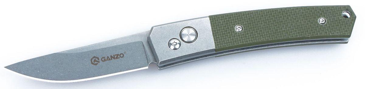 Нож туристический Ganzo, цвет: зеленый, стальной, длина лезвия 8 см. G7362G7362-GRУниверсальный нож Ganzo карманного типа создан таким образом, чтобы быть полезным и в городе, и на природе. Для него используется одна из наиболее востребованных марок стали - 440С, а на рукоятке накладки из современного пластика G10.Если вам нужен универсальный вариант ножа, который подойдет и для ежедневной эксплуатации в городских условиях, и для поездок на природе, то хорошим решением будет купить данную модель. Она изготовлена из надежных материалов и отличается очень сдержанным и лаконичным дизайном. Нож выглядит очень аккуратным, но способен работать практически с любыми материалами.Клинок ножа сделан из стали марки 440С. Она относится к нержавеющим сплавам, но содержит достаточно большое количество углерода, чтобы металл приобрел твердость примерно 58 HRC. Такая твердость способствует тому, чтобы нож не нужно было слишком часто затачивать, но при необходимости, сделать это было бы просто при помощи обычной карманной точилки. Поверхность лезвия обработана методом Stone Wash, благодаря чему она не бликует, а любые царапины на клинке гораздо более незаметны. Режущая кромка заточена классическим способом - гладко. Это также способствует универсальности ножа. Длина клинка равна 8 см по длине с толщиной по обуху 0,3 см.Часть рукоятки также изготовлена из металла. На остальную поверхность изготовлены накладки из G10. Этот материал по сути является композитным соединением эпоксидной смолы и стекловолокна. Он чрезвычайно прочный и гарантирует длительное сохранение изначально заложенных свойств. Поверхность накладок имеет рельефную поверхность, которая помогает крепче держать нож в руке и не дает ему выскользнуть из ладоней. На рукоятке также есть небольшое сквозное отверстие, в которое пользователь может продеть темляк, и металлическая клипса для крепления и страховки ножа во время транспортировки.Положение клинка в этой складной модели ножа регулируется при участии замка Auto-Lock. Это