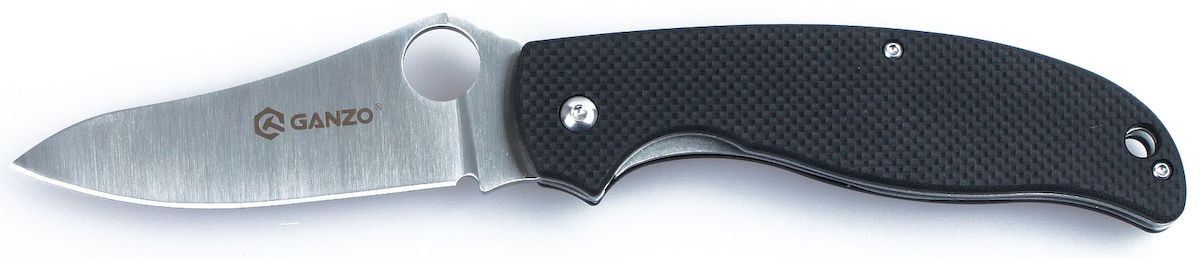 Нож туристический Ganzo, цвет: черный, стальной, длина лезвия 8,9 см. G734