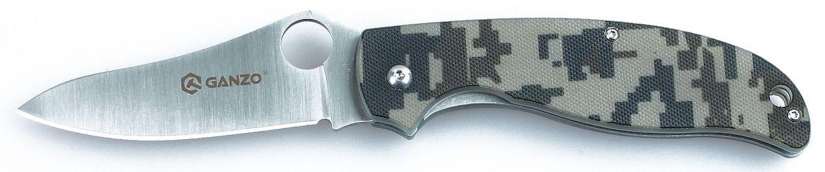 Нож туристический Ganzo, цвет: зеленый камуфляж, стальной, длина лезвия 8,9 см. G734H-178Складной нож Ganzo получил все необходимые качества, чтобы занять высокую рейтинговую позицию в списке практичных туристических моделей. Его клинок сделан из нержавеющей стали и гладко заточен, а на рукоятке накладки из G10 четырех популярных цветов. В открытом положении лезвие удерживается при помощи замка LinerLock.Если вы выбираете нож для поездок на природу: туризма, рыбалки или охоты, пикников или занятий различными видами экстремального спорта,- то это именно та модель, на которую действительно стоит обратить внимание. Его клинок выполнен из нержавейки высокого качества (440С), которую широко используют многие известные производители. Гладкая заточка способствует многозадачности этой модели. Нож прекрасно подойдет для приготовления бутербродов, чистки рыбы, выполнения различных подсобных работ. Помимо того, у лезвия довольно необычная форма, которая понравится ценителям и коллекционерам ножей. Длина лезвия ножика достигает 89 мм при толщине пластины по обуху 0,33 см.Чтобы нож было удобно держать в руках, на его рукоятке с обеих сторон размещены накладки из популярного стеклопластика G10. Он получил большое распространение благодаря необычайной прочности (это композитный материал), легкости формовки и способности долго сохранять свои свойства. Кстати, стеклопластик комфортно держать в руках и зимой, и летом, в отличие от некоторых других материалов, на которые существенно влияет температура окружающей среды. В хвосте рукоятки сделано небольшое отверстие для темляка.Данный нож - это складная модель, а потому для него предусмотрен специальный ножевой замок, который не дает клинку самостоятельно открываться или закрываться. В данном случае речь идет о механизме LinerLock, который считается самым простым и, вместе с тем, одним из наиболее надежных.Длина лезвия: 8,9 см.Общая длина ножа: 21 см.Толщина лезвия: 0,33 см.Твердость стали: +-58HRC.Вес ножа: 130 г.