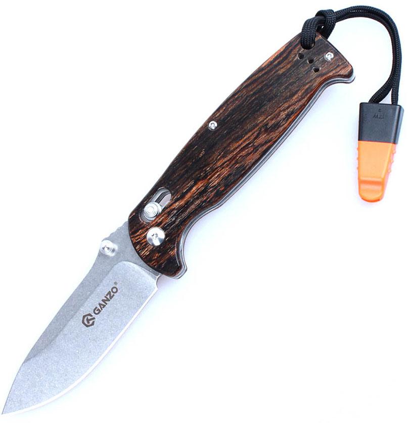 Нож туристический  Ganzo , цвет: темно-коричневый, стальной, длина лезвия 8,9 см. G7412-WD1-WS - Ножи и мультитулы