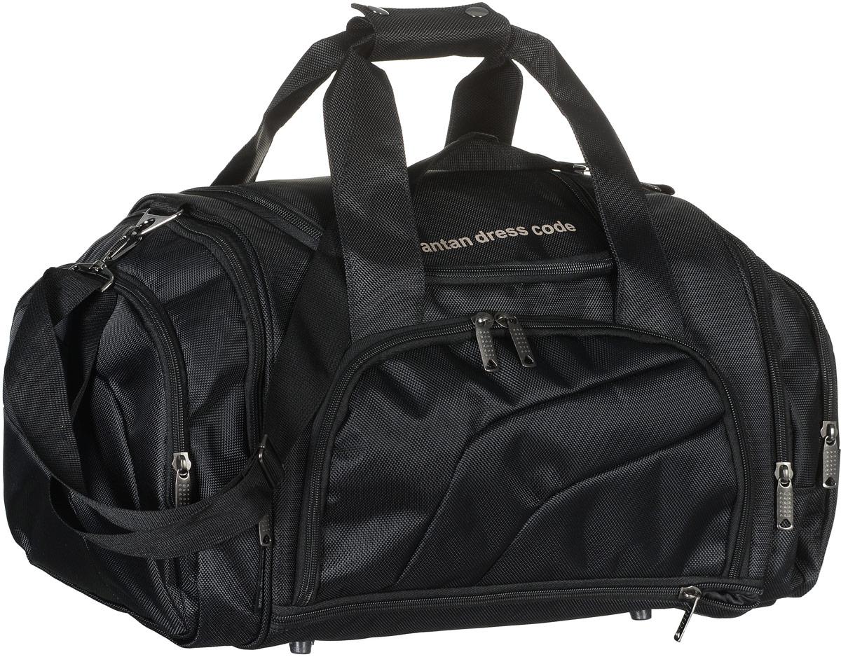 Сумка дорожная Аntan, цвет: черный. 2-159MW-1462-01-SR серебристыйВместительная дорожная сумка Аntan выполнена из полиэстера. Изделие имеет одно отделение, которое закрывается на застежку-молнию. Снаружи, на передней стенке расположен накладной карман на застежке-молнии, внутри которого предусмотрен накладной сетчатый карман, по бокам - четыре накладных кармана на застежках-молниях, сверху - прорезной карман на застежке-молнии. Основание изделия оснащено карманом на застежке-молнии. Сумка дополнена двумя удобными ручками. В комплект входит съемный регулируемый плечевой ремень. Основание изделия защищено от повреждений пластиковыми ножками.