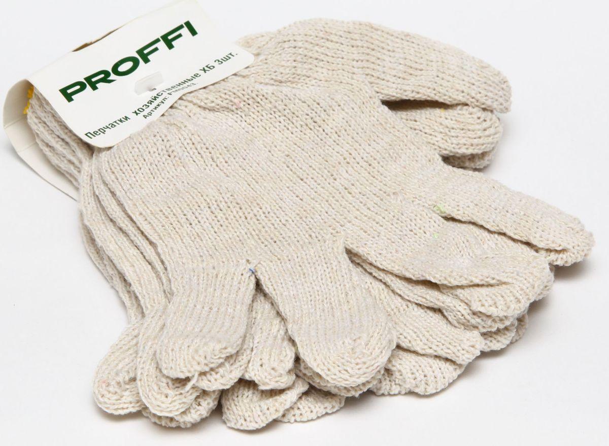 Перчатки хозяйстенные Proffi, 3 пары80621Перчатки х/б Стандарт. Количество нитей: 3. Класс вязки: 7-й. Вес: 33-35 грамм.