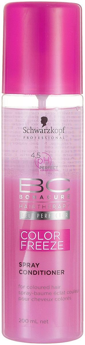 Bonacure Спрей-кондиционер для волос Сияние Цвета Color Freeze Spray-Conditioner 200 мл2065509Легкий двухфазный спрей - кондиционер укрепляет структуру волос и удерживает оптимальный уровень pH 4.5, закрывает и сжимает кутикулярный слой и сводит потерю цвета к 0. Улучшает расчесывание и придает бриллиантовое сияние. Для окрашенных волос. Рекомендуется использовать в комплексе с шампунем BC Color Freeze.