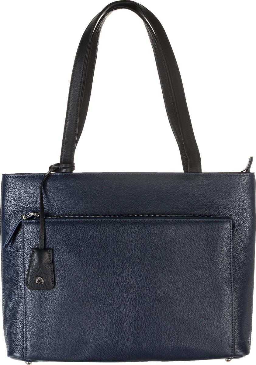 Сумка женская Pimo Betti, цвет: темно-синий. 15009B-W123008Женская сумка Pimo Betti выполнена из натуральной кожи с фактурным тиснением. Сумка имеет одно основное отделение, закрывающееся на застежку-молнию. Внутри расположены два накладных кармана под телефон и мелкие принадлежности, один большой накладной карман, закрывающийся на кнопку, и вшитый карман на застежке-молнии. Снаружи, с фронтальной стороны сумка дополнена накладным карманом на молнии, с тыльной - прорезным карманом с застежкой-молнией. Изделие оснащено двумя удобными ручками. Дно сумки дополнено четырьмя металлическими ножками. Модель декорирована съемным брелоком из натуральной кожи с логотипом фирмы.Элегантная и вместительная сумка Pimo Betti прекрасно дополнит ваш образ и подчеркнет неповторимый стиль.