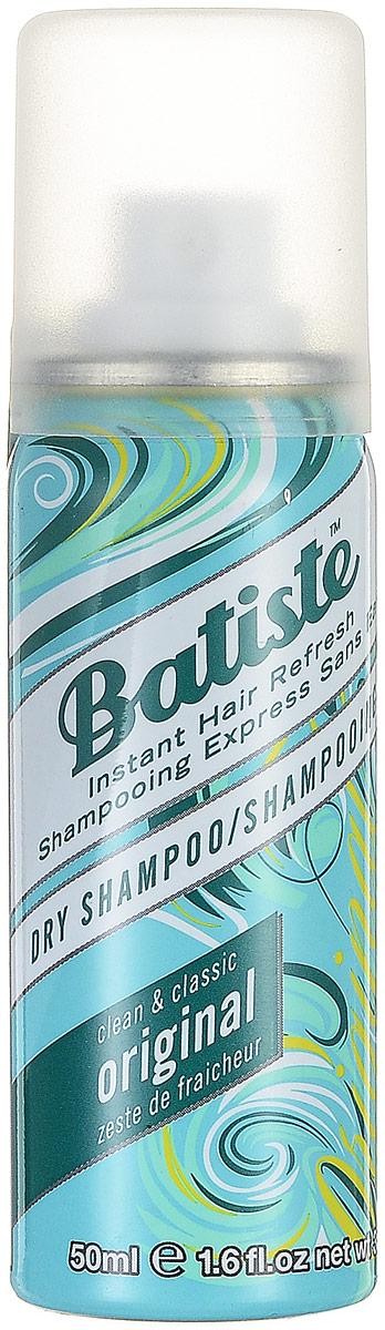 Batiste Сухой шампунь Original, с классическим ароматом, 50 млHS-81435789Batiste – отличное средство для активных женщин! Сухой шампунь Batiste устраняет жирность корней, придавая скучным и безжизненным волосам необходимый блеск, без использования воды. Быстро освежает и повышает силу волос, придает телу волоса и текстуру и оставляет ощущение чистоты и свежести. Идеален для использования, когда:- У вас нет времени мыть голову обычным шампунем;- Когда у вас много других дел;- Когда ваша жизнь – сплошной круговорот событий. Сухой шампунь быстро и эффективно абсорбирует грязь и жир, тем самым очищая волосы.Простота в использовании: нанесите шампунь на сухие волосы и через несколько минут причешитесь. И волосы вновь чистые и мягкие!Товар сертифицирован.