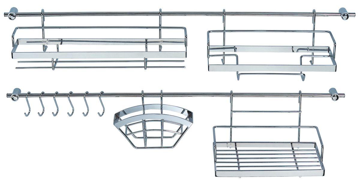 Набор рейлингов и предметов для кухни Axentia, 16 предметов. 115919900637_прозрачныйВ набор Axentia входят 16 предметов из хромированной (рейлинги) и нержавеющей стали (предметы). В составе набора: рейлингов – 2 х 78 см с 4 кронштейнами, с дюбелями и саморезами, 6 крючков, полка универсальная длинная, полка для специй и других мелких предметов, держатель для бумажных рулонных полотенец, держатель фильтров для кофе или салфеток. Все что необходимо для вашей кухни в одном наборе!