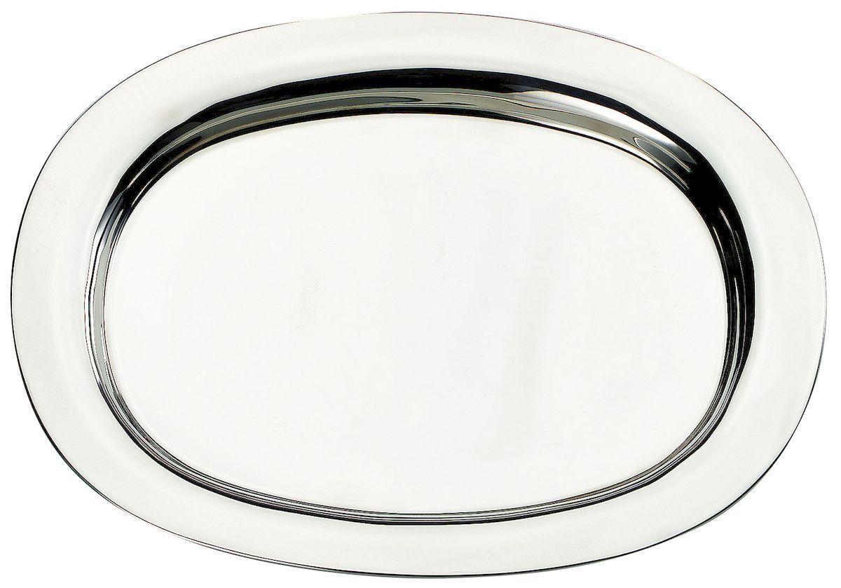 Поднос Axentia, 37 х 28 см115010Овальный поднос Axentia выполнен из высококачественной нержавеющей стали. Он отлично подойдет для красивой сервировки различных блюд, закусок и фруктов на праздничном столе. Благодаря бортикам, поднос с легкостью можно переносить с места на место. Поднос Axentia займет достойное место на вашей кухне.