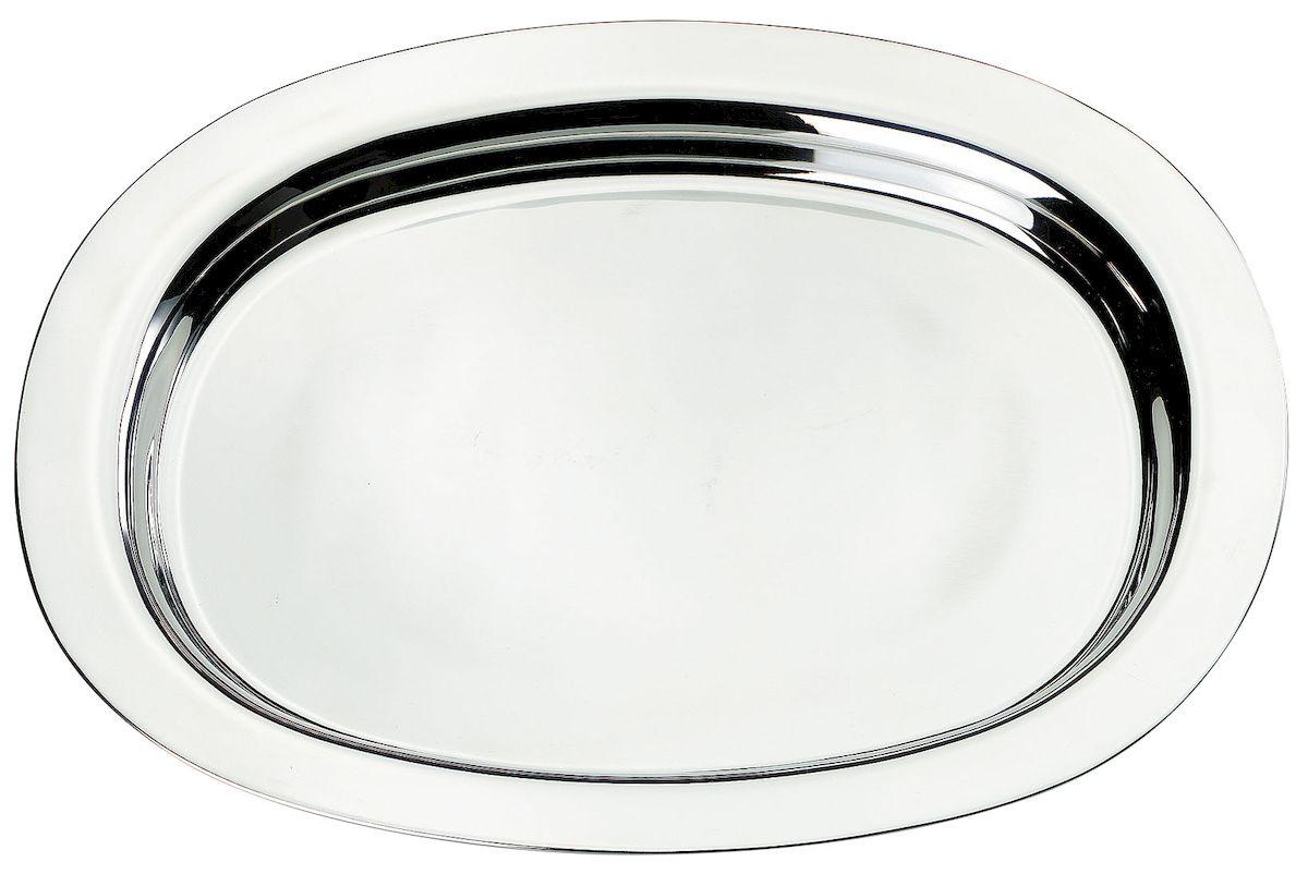 Поднос Axentia, 42 х 33 см54 009312Овальный поднос Axentia выполнен из высококачественной нержавеющей стали. Он отлично подойдет для красивой сервировки различных блюд, закусок и фруктов на праздничном столе. Благодаря бортикам, поднос с легкостью можно переносить с места на место. Поднос Axentia займет достойное место на вашей кухне.