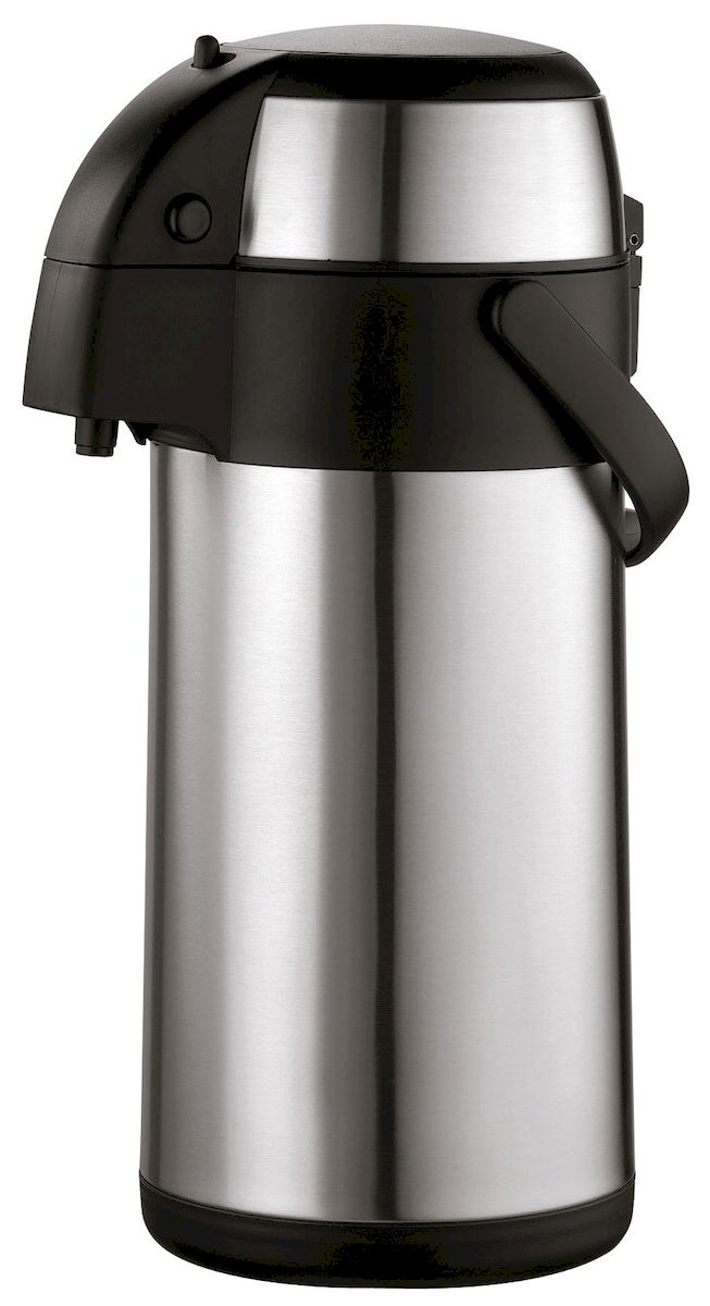 Термос Axentia, 3 лVT-1520(SR)Термос Axentia, изготовленный из нержавеющей стали, оснащен внутренней стеклянной колбой с двойными стенками. Термос является простым в использовании, экономичным и многофункциональным. Изделие оснащено удобной ручкой и помповым насосом. Термос предназначен для хранения горячих и холодных напитков (чая, кофе) и укомплектован крышкой с кнопкой. Такая крышка удобна в использовании и позволяет, не отвинчивая ее, наливать напитки после простого нажатия. Легкий и прочный термос Axentia сохранит ваши напитки горячими или холодными надолго.