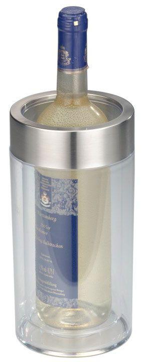 Емкость Axentia для охлаждения бутылок, 23 х 11 смVT-1520(SR)Емкость-холодильник Axentia изготовлена из прозрачного пластика с широким ободом из нержавеющей стали. Изделие, оснащенное двойными стенками, предназначено для охлаждения бутылок вина и других напитков. Такая емкость послужит не только полезным, но и красивым аксессуаром на вашей кухне.