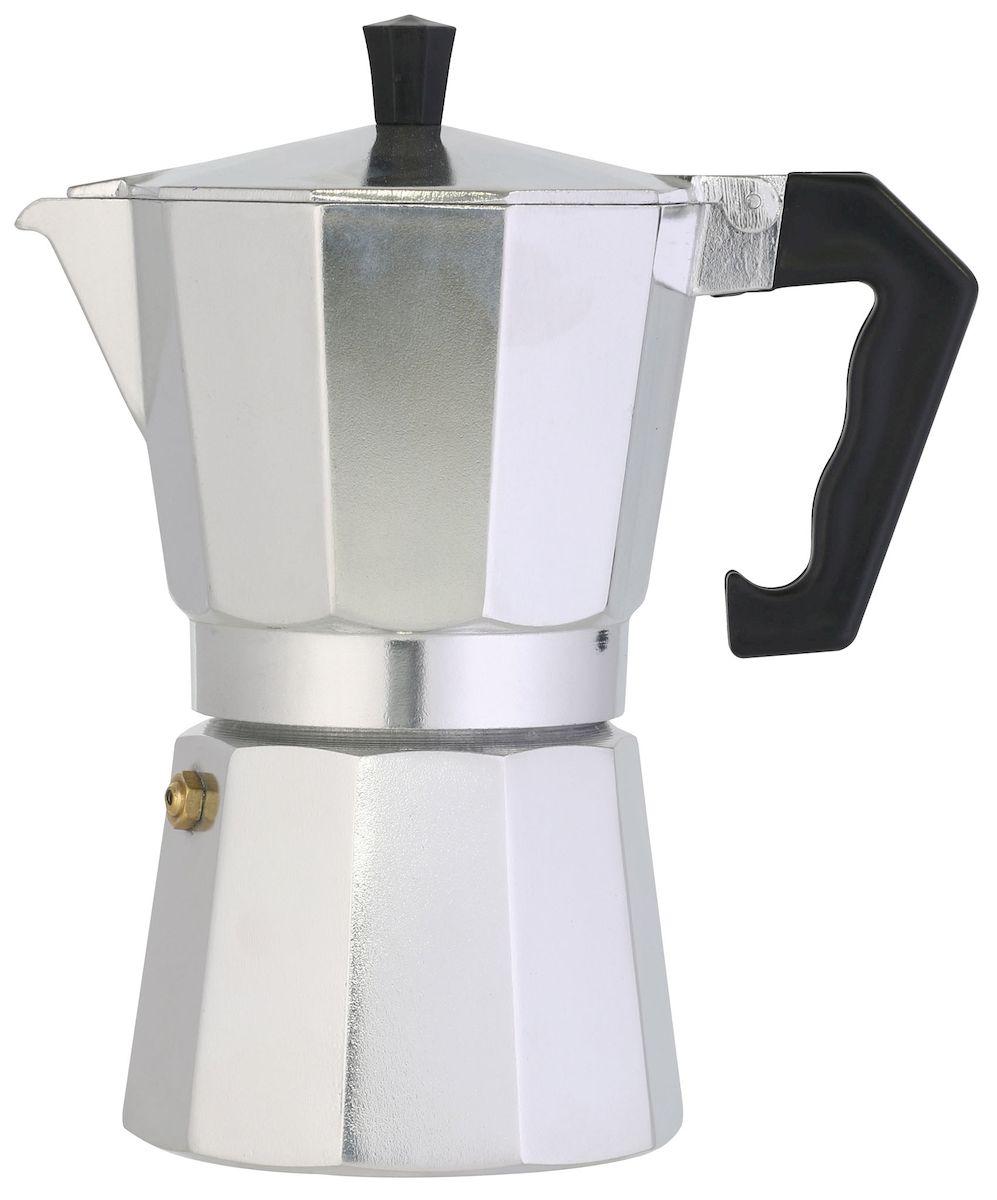 Кофеварка Axentia для Espresso, цвет: серебристый, на 6 чашек68/5/4Гейзерная кофеварка Axentia позволит вам приготовить ароматный кофе Espresso на 6 персон. Корпус кофеварки изготовлен из высококачественного литого алюминия. Кофеварка состоит из двух соединенных между собой емкостей и снабжена алюминиевым фильтром-перколятором, который сохраняет аромат кофе.Данная модель предельно проста в использовании, в ней отсутствуют подвижные части и нагревательные элементы, поэтому в ней нечему ломаться. Гейзерные кофеварки являются самыми популярными в мире и позволяют приготовить ароматный кофе за считанные минуты. Основной принцип действия гейзерной кофеварки состоит в том, что напиток заваривается путем прохождения горячей воды через слой молотого кофе. В нижнюю часть гейзерной кофеварки заливается вода, в промежуточную часть засыпается молотый кофе, кофеварка ставится на огонь или электрическую плиту. Закипая, вода начинает испаряться и превращается в пар. Избыточное давление пара в нижней части кофеварки выдавливает горячую воду через молотый кофе и подобно небольшому гейзеру попадает в верхний отсек, где и собирается в готовый кофе. Время приготовления в гейзерной кофеварке составляет примерно 5 минут. Кофеварку можно использовать на всех типах плит, кроме индукционных.