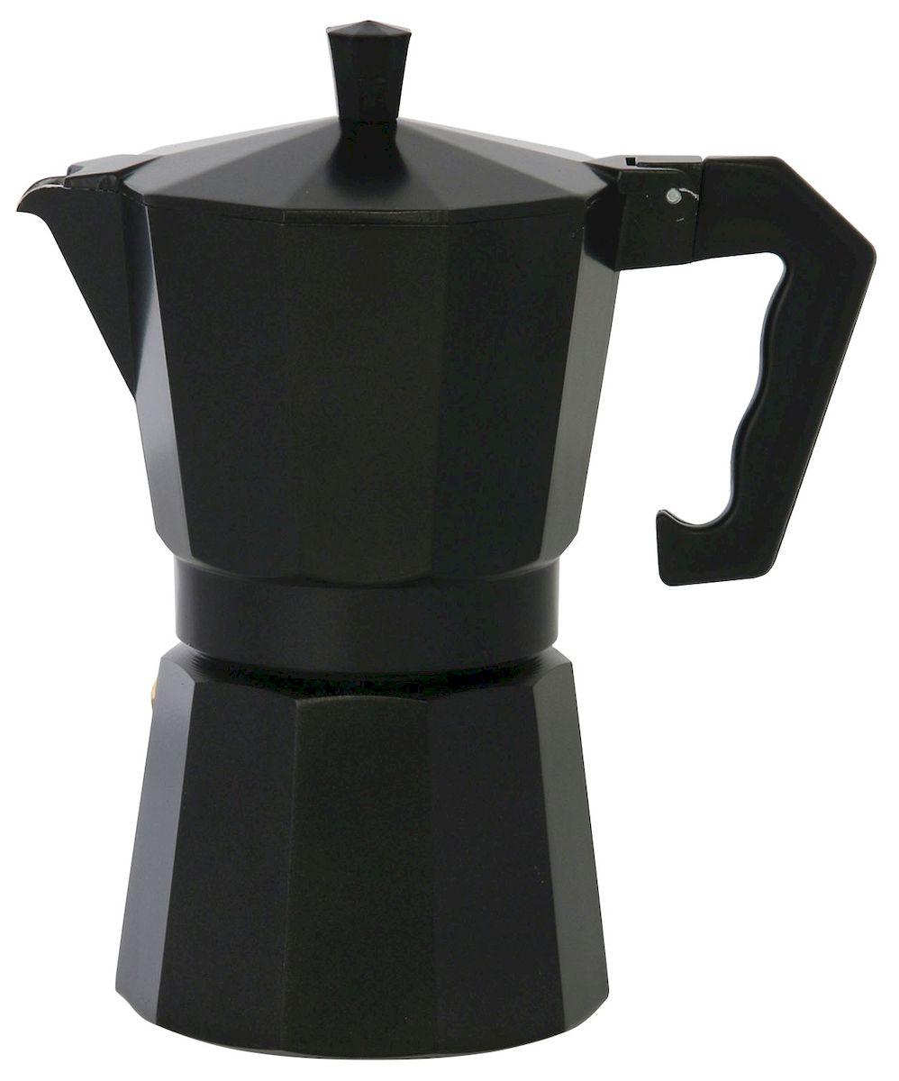 Кофеварка Axentia для Espresso, цвет: черный, на 6 чашекVT-1520(SR)Гейзерная кофеварка Axentia позволит вам приготовить ароматный кофе Espresso на 6 персон. Корпус кофеварки изготовлен из высококачественного литого алюминия. Кофеварка состоит из двух соединенных между собой емкостей и снабжена алюминиевым фильтром-перколятором, который сохраняет аромат кофе.Данная модель предельно проста в использовании, в ней отсутствуют подвижные части и нагревательные элементы, поэтому в ней нечему ломаться. Гейзерные кофеварки являются самыми популярными в мире и позволяют приготовить ароматный кофе за считанные минуты. Основной принцип действия гейзерной кофеварки состоит в том, что напиток заваривается путем прохождения горячей воды через слой молотого кофе. В нижнюю часть гейзерной кофеварки заливается вода, в промежуточную часть засыпается молотый кофе, кофеварка ставится на огонь или электрическую плиту. Закипая, вода начинает испаряться и превращается в пар. Избыточное давление пара в нижней части кофеварки выдавливает горячую воду через молотый кофе и подобно небольшому гейзеру попадает в верхний отсек, где и собирается в готовый кофе. Время приготовления в гейзерной кофеварке составляет примерно 5 минут. Кофеварку можно использовать на всех типах плит, кроме индукционных.
