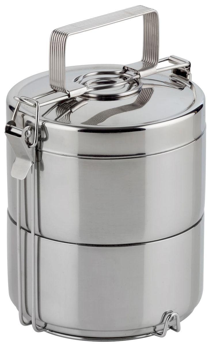 Набор контейнеров для горячей еды Axentia, 2 штVT-1520(SR)Набор Axentia, изготовленный из двухслойной нержавеющей стали, состоит из 2 пищевых контейнеров. Изделия представляют собой два бокса с вертикальным креплением и ручкой. Такие контейнеры предназначены для сохранения температуры и переноски горячей еды или холодных и замороженных продуктов. Высота бокса: 7 см.Общая высота: 21,5 см.