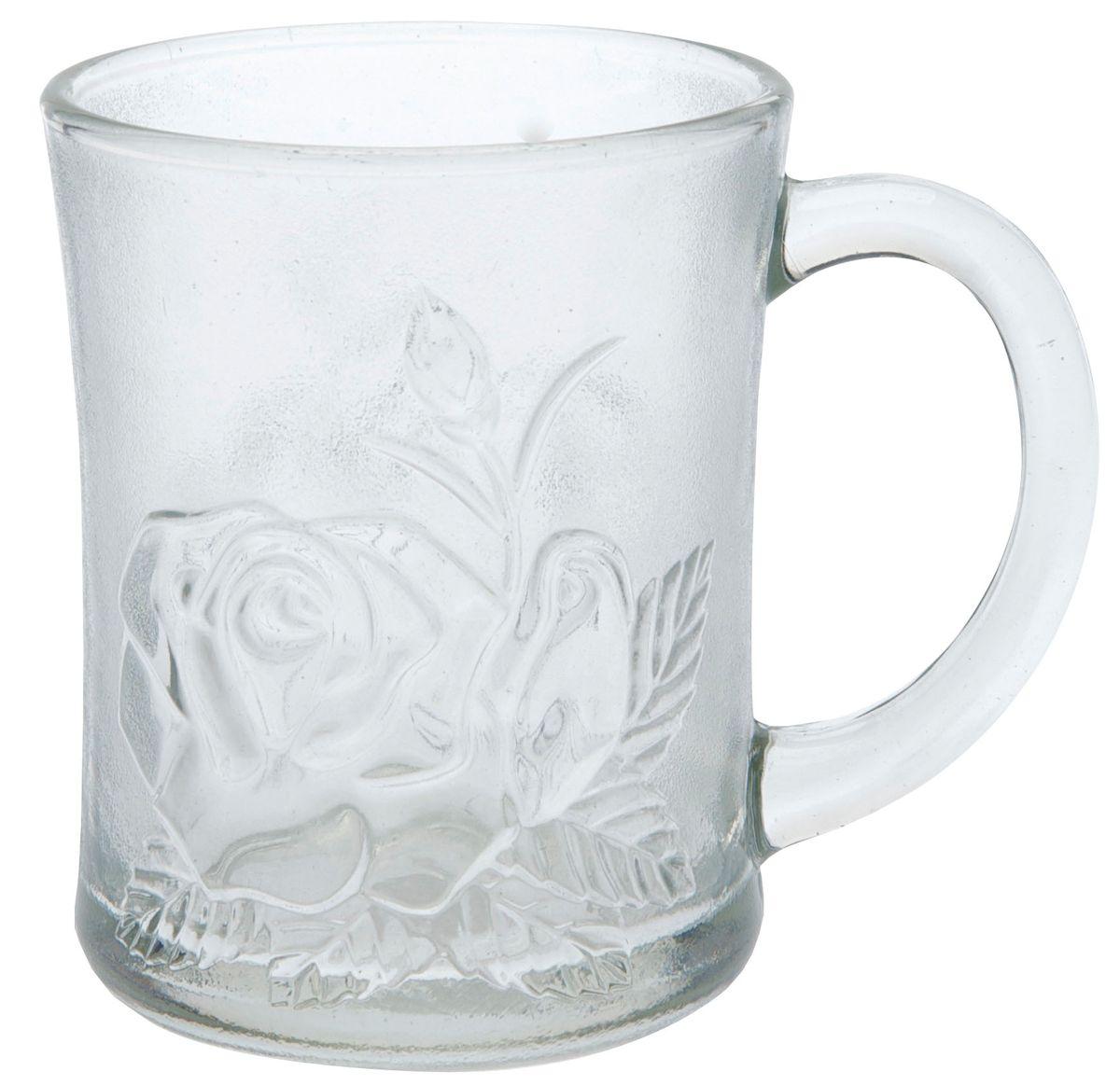 Кружка Axentia Роза, 250 мл115510Кружка Axentia Роза изготовлена из прочного матового стекла и декорирована рельефным изображением розы. Такая кружка прекрасно подойдет для горячих и холодных напитков. Она дополнит коллекцию вашей кухонной посуды и будет служить долгие годы.