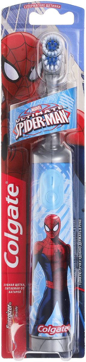 Colgate Зубная щетка Spider-Man, электрическая, с мягкой щетиной, цвет: серый, голубойFCN10038_серый/голубойColgate Зубная щетка Spider-Man, электрическая, с мягкой щетиной, цвет: серый, голубой