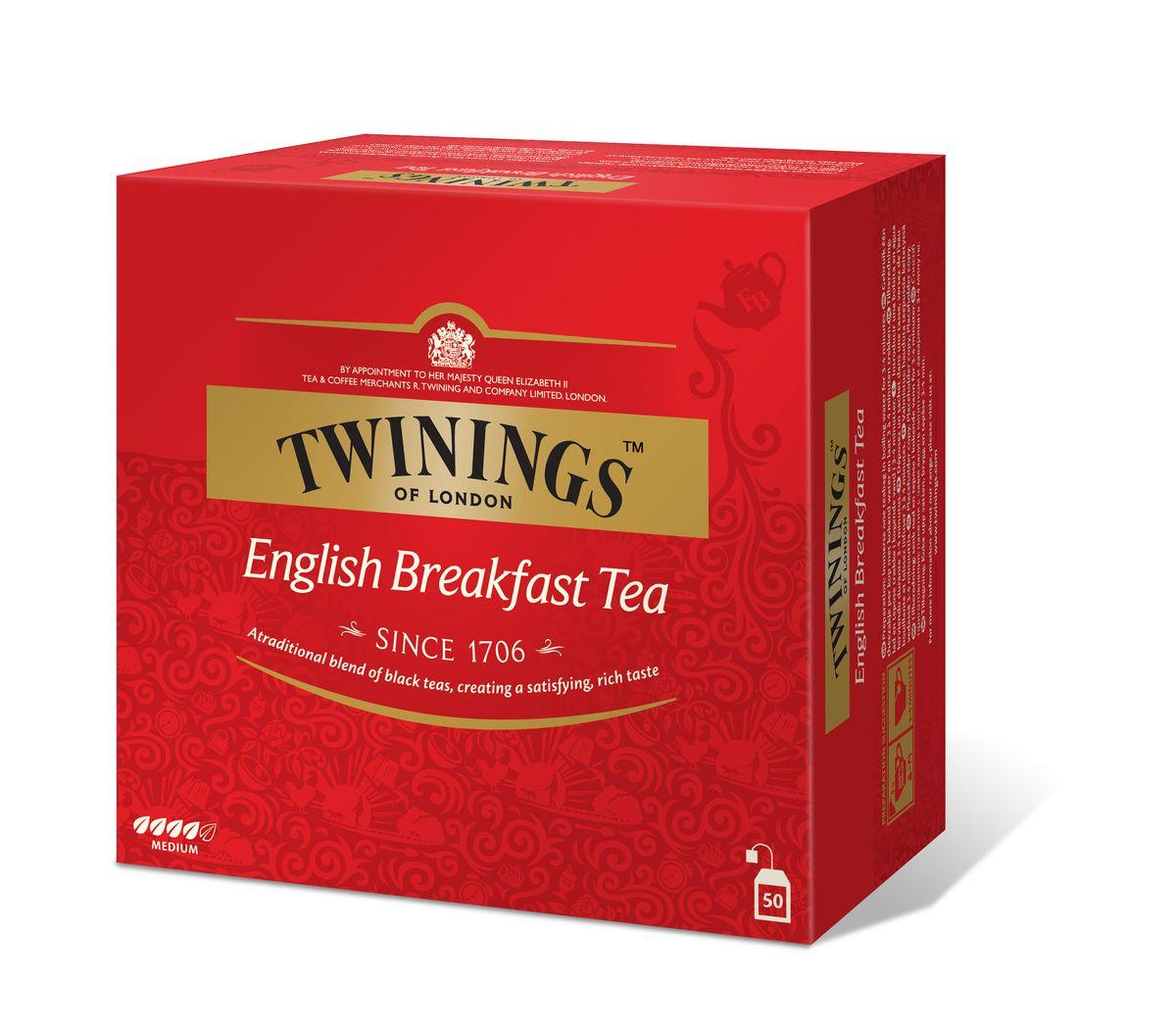 Twinings English Breakfast чай черный в пакетиках, 50 шт101246Черный чай в пакетиках Twinings English Breakfast с классическим вкусом изготовлен из смеси сортов черного чая.