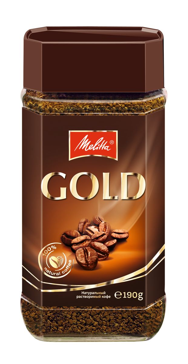 Melitta Gold кофе растворимый сублимированный, 190 г5060468280456Сбалансированный мягкий бархатистый вкусТонкий кофейный аромат Бодрящий и придающий сил Создан по технологии Freeze-dried Прекрасно сочетается с десертами Быстро растворяется