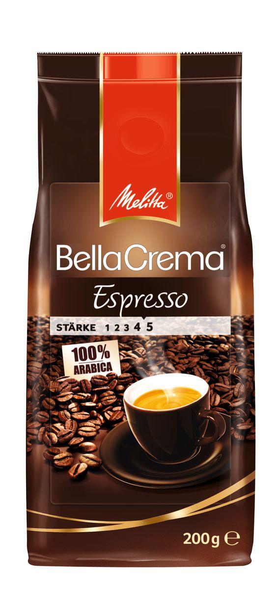 Melitta BellaCrema Espresso кофе в зернах, 200 г5060468280418100% Арабика Крепкий кофе для Эспрессо Кофейная композиция с легкими перечными нотками Мягкая упаковка с клапаном Предназначен для приготовления кофе в кофеварках и кофемашинах Можно молоть вручную и варить в турке