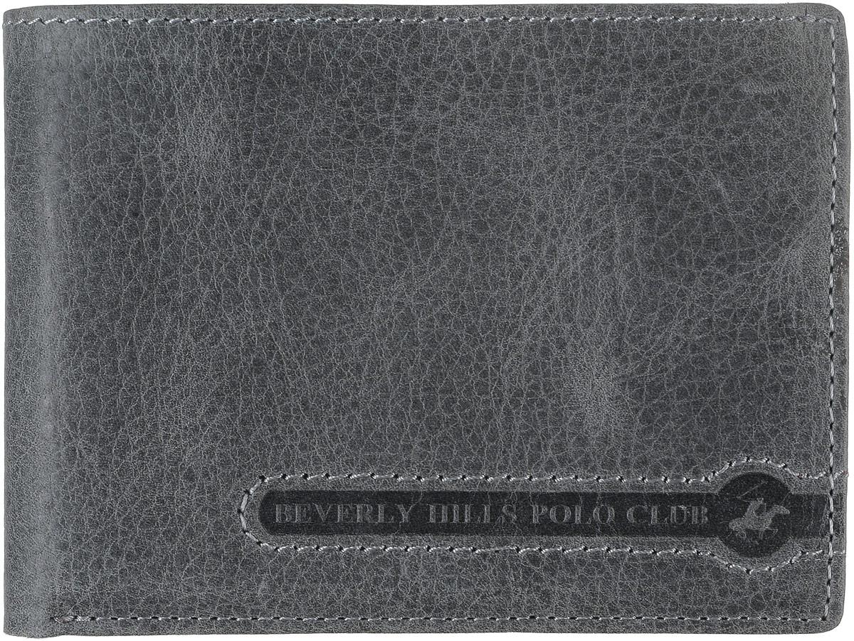 Портмоне мужское Beverly Hills Polo Club, цвет: серый. 391BM8434-58AEУльтратонкое портмоне Beverly Hills Polo Club выполнено из натуральной фактурной кожи. Внутри портмоне располагается отделение для купюр, четыре кармана для кредиток и визиток, два отделения для Sim-карт, одно отделение для SD-карт, отделение для монет на клапане с кнопкой. Также внутри отделения для купюр есть четыре кармана для визиток и кредиток и кармашек для чеков.Портмоне для мужчины - неотъемлемая часть имиджа! Порадуйте мужчину таким ярким, стильным и практичным подарком!Поставляется портмоне в фирменной картонной коробке.