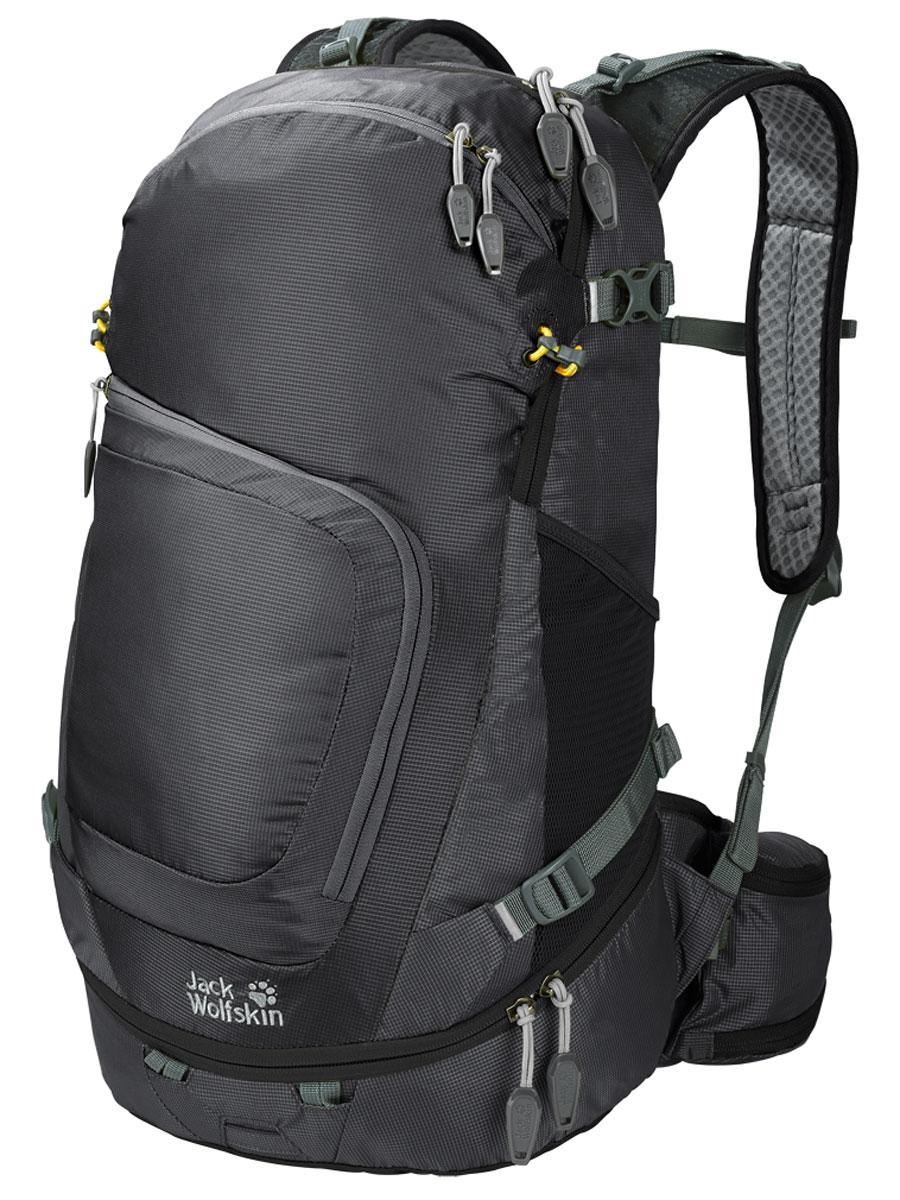 Рюкзак Jack Wolfskin Crosser 26 Pack, цвет: черный. 2004951-60002004951-6000Универсальный рюкзак Jack Wolfskin с донным отделением.В рюкзаке можно безопасно переносить ноутбук, бутылку для воды или планшетный компьютер. Упаковывать рюкзак легко благодаря устойчивому дну. В переднем кармане есть органайзер, легко доступный в путешествии.