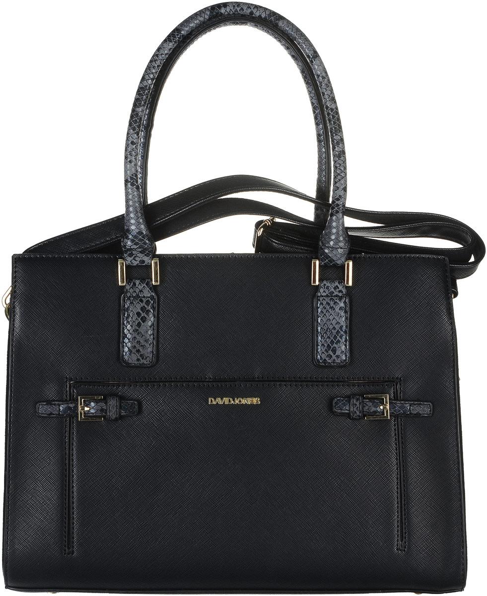Сумка женская David Jones, цвет: черный, серый. 5272-223008Стильная женская сумка David Jones выполнена из искусственной кожи. Изделие имеет одно отделение, которое закрывается на застежку-молнию. Внутри сумки находятся два накладных открытых кармана и прорезной карман на застежке-молнии. Снаружи, на передней стенке расположен накладной карман на магнитной кнопке, оформленный декоративными ремешками с металлическими пряжками, на задней стенке - прорезной карман на застежке-молнии. Основание изделия защищено от повреждений металлическими ножками.Сумка оснащена двумя удобными ручками. В комплект входит съемный регулируемый наплечный ремень.