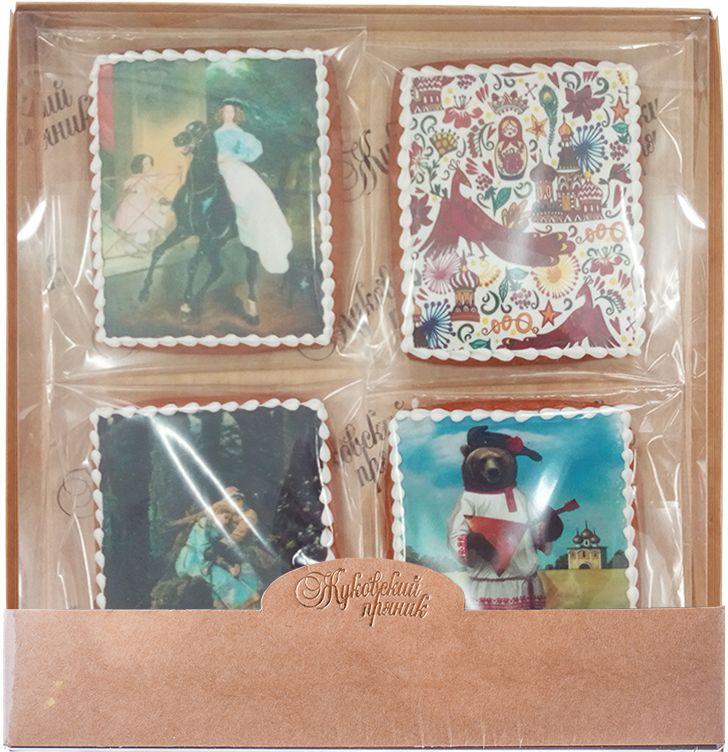 Жуковский пряник Подарочный набор Картины русских художников-3, 4 шт0120710Медово-имбирные пряники с росписью из айсинга, фотопечатью на сахарной бумаге. Прекрасно подойдут к любому событию.