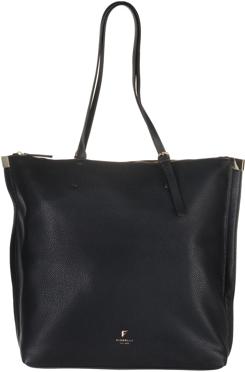 Сумка женская Fiorelli, цвет: черный. 8521 FHA-B86-05-CСтильная сумка Fiorelli выполнена из высококачественной искусственной кожи. Изделие оформлено фирменной надписью и металлической пластинкой с логотипом бренда. На тыльной стороне расположен вшитый карман на молнии. Сумка оснащена удобными ручками, длина которых регулируется с помощью пряжки. Изделие закрывается на застежку-молнию. Внутри расположено главное вместительно отделение, которое содержит два открытых накладных кармана для телефона и мелочей и один вшитый карман на молнии.