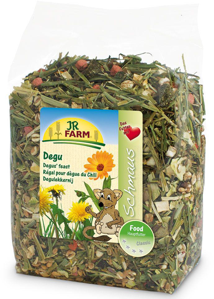 Корм для дегу JR Farm Classic, 800 г101246Корм JR Farm Classic - полностью натуральный полноценный корм для всех видов дегу. Высокое содержание клетчатки и низкое содержание зерна обеспечивают здоровое пищеварение и способствуют снижению вероятности набора лишнего веса дегу. Полностью, как естественный корм из природы, смесь не содержит фрукты или ингредиенты с высоким содержанием сахаров, что снижает риск развития диабета. Большое количество овощей, витаминов и минералов для здорового образа жизни и для отличной физической формы. Рекомендации по кормлению: наполняйте кормушку, когда она уже пуста. Пожалуйста, обеспечивайте животное таким количеством корма, которое он съедает в течение 24 часов. Состав: пшеница, хлопья гороха, экстрактированная кукуруза, пшеничные хлопья, люцерна, хлопья бобов, семена трав, воздушная пшеница, пастернак, тимофеевка луговая, петрушка, ежа сборная, мята, морковь, свекла, зелень кукурузы, подорожник, красный клевер, мятлик луговой, овсяница луговая, манжетка, эхинацея, мелисса, овес, ноготки 0,4%, одуванчик 0,3%, сено. Основной анализ: протеин 14.4%, жиры 2.8%, клетчатка 9.8%, зола 5.0%. Товар сертифицирован.Уважаемые клиенты! Обращаем ваше внимание на то, что упаковка может иметь несколько видов дизайна. Поставка осуществляется в зависимости от наличия на складе.