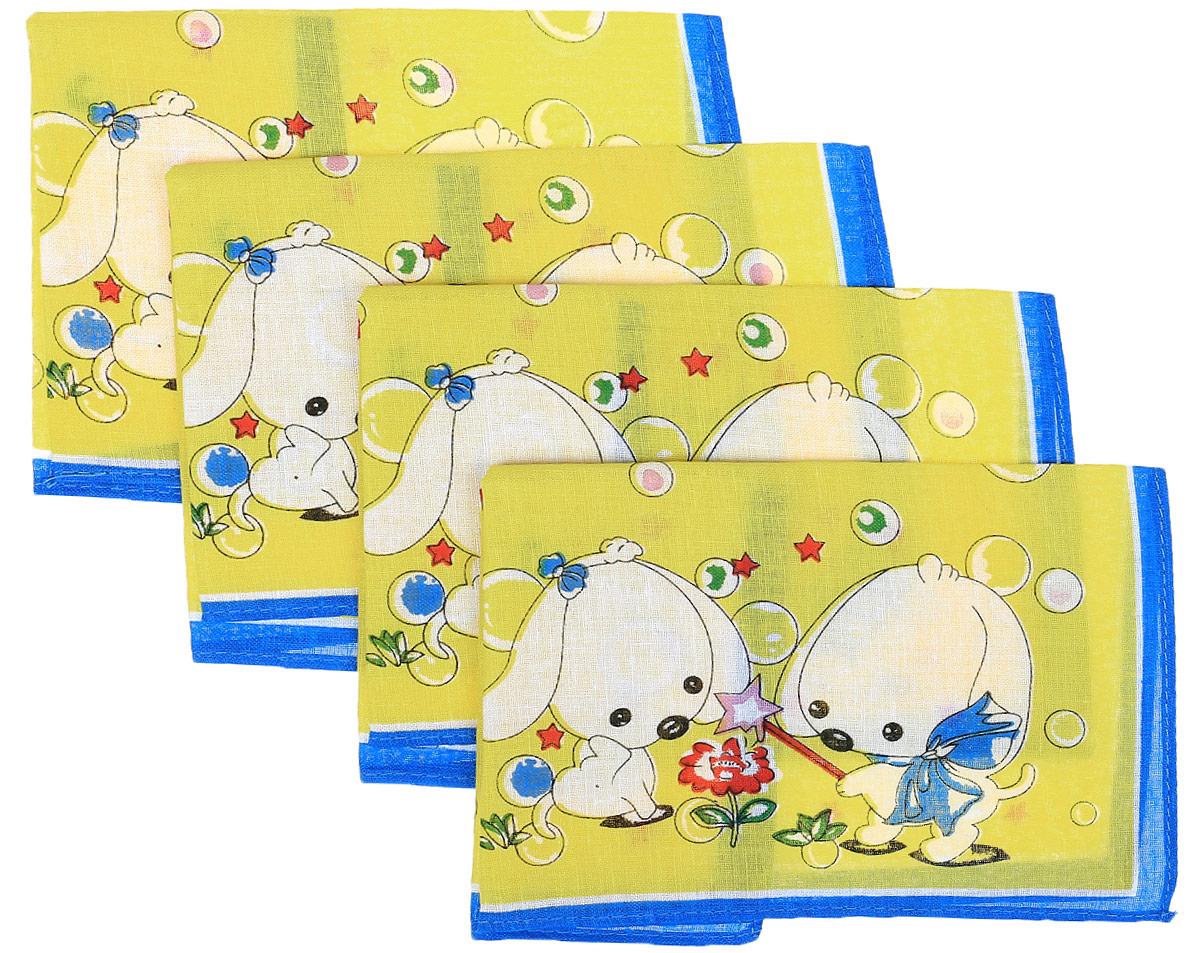 Платок носовой детский Zlata Korunka, цвет: желтый, синий, 4 шт. 71406. Размер 27 х 27 см39864|Серьги с подвескамиДетские носовые платки Zlata Korunka изготовлены из натурального хлопка, приятны в использовании, хорошо стираются, материал не садится и отлично впитывает влагу. В упаковке 4 штуки.