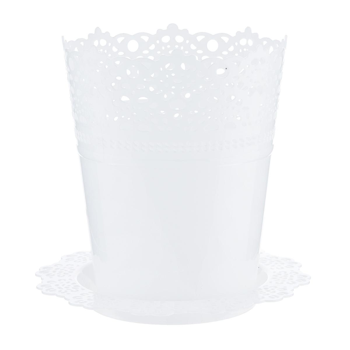 Кашпо Idea Ажур, с подставкой, цвет: белый, диаметр 15 смCAD300UBECКашпо Idea Ажур изготовлено из полипропилена (пластика). Специальная подставка предназначена для стока воды. Верх изделия и подставка оформлены перфорацией, напоминающей кружево. Изделие прекрасно подходит для выращивания растений и цветов в домашних условиях. Диаметр подставки: 19 см.