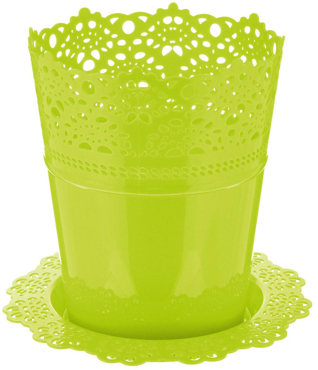 Кашпо Idea Ажур, с подставкой, цвет: салатовый, диаметр 15 см531-401Кашпо Idea Ажур изготовлено из полипропилена (пластика). Специальная подставка предназначена для стока воды. Верх изделия и подставка оформлены перфорацией, напоминающей кружево. Изделие прекрасно подходит для выращивания растений и цветов в домашних условиях. Диаметр подставки: 19 см.