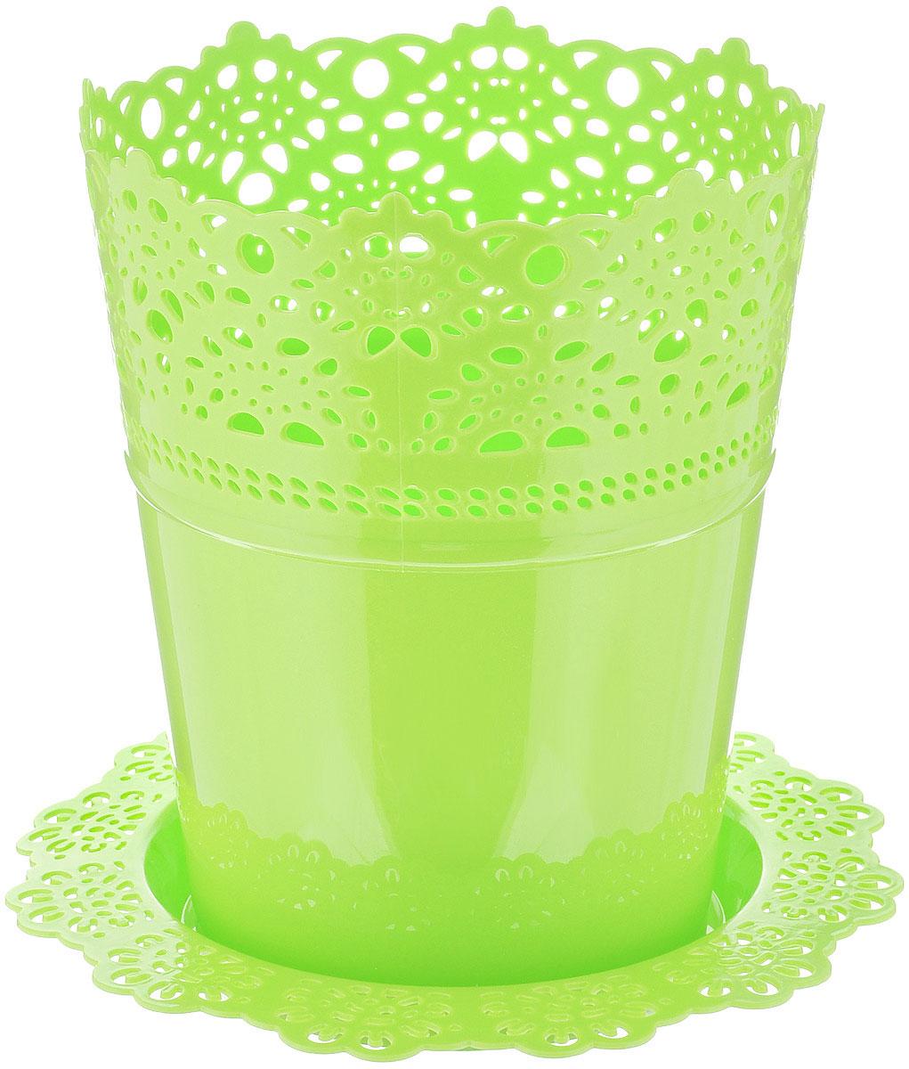 Кашпо Idea Ажур, с подставкой, цвет: салатовый, диаметр 18,5 см16181Кашпо Idea Ажур изготовлено из полипропилена (пластика). Специальная подставка предназначена для стока воды. Верх изделия и подставка оформлены перфорацией, напоминающей кружево. Изделие прекрасно подходит для выращивания растений и цветов в домашних условиях. Диаметр подставки: 23,5 см.