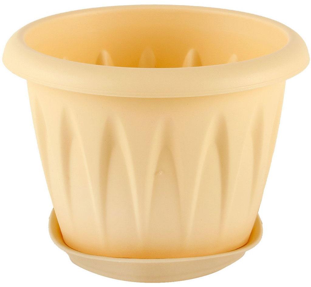 Кашпо Idea Алиция, с поддоном, цвет: белая глина, 1,4 л531-324Кашпо Idea Алиция изготовлено из прочного полипропилена (пластика) и предназначено для выращивания растений, цветов и трав в домашних условиях. Круглый поддон обеспечивает сток воды. Такое кашпо порадует вас функциональностью, а благодаря лаконичному дизайну впишется в любой интерьер помещения. Диаметр кашпо по верхнему краю: 16 см. Объем кашпо: 1,4 л.