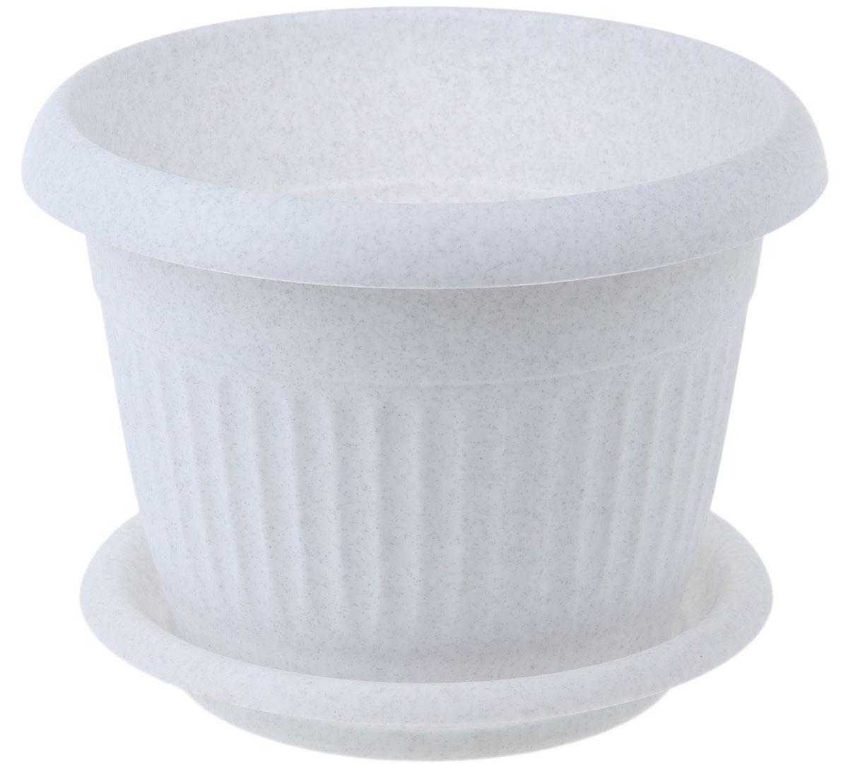 Кашпо Idea Ливия, с поддоном, цвет: мраморный, 11 лB-0304Кашпо Idea Ливия изготовлено из прочного полипропилена (пластика) и предназначено для выращивания растений, цветов и трав в домашних условиях. Круглый поддон обеспечивает сток воды. Такое кашпо порадует вас функциональностью, а благодаря лаконичному дизайну впишется в любой интерьер помещения. Диаметр кашпо по верхнему краю: 32 см. Объем кашпо: 11 л.