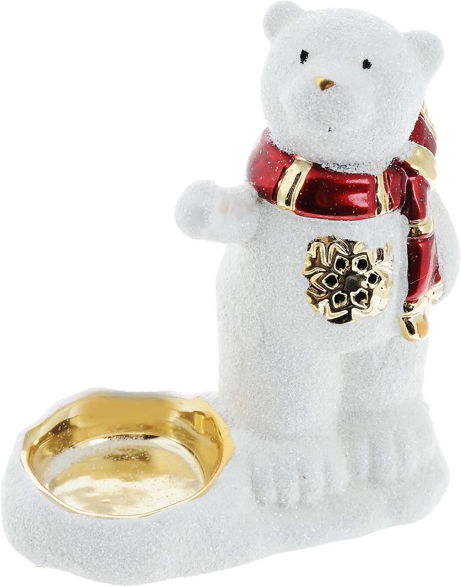 Подсвечник новогодний Winter Wings Мишка в шарфе, 13 х 12 х 6,5 см новогодний декоративный подсвечник winter wings домик со свечой цвет белый красный 6 см х 8 см х 11 см